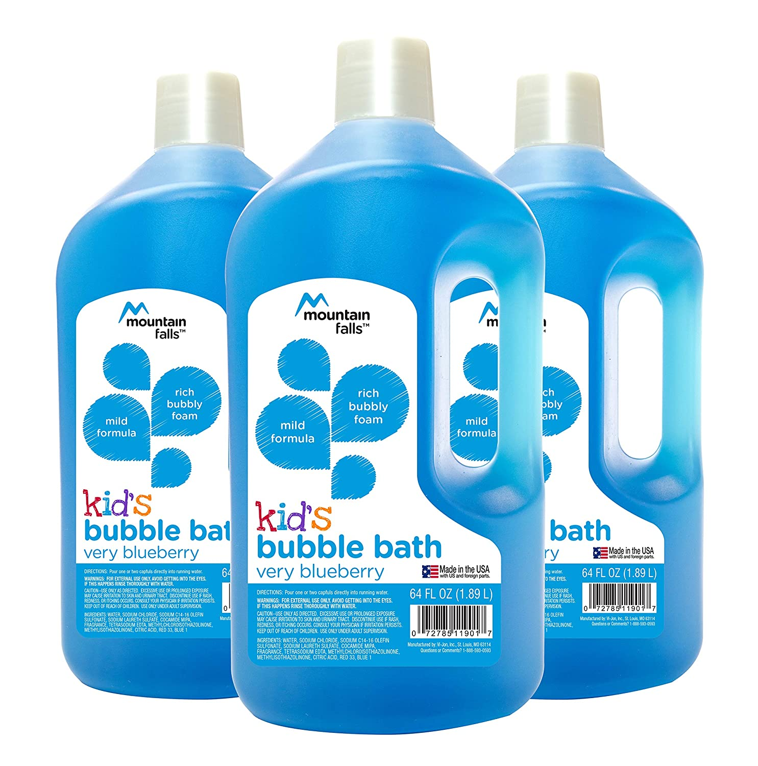 Mountain Falls Kid's Bubble Bath, Tutti Frutti, 64 Fluid Ounce (Pack of 3) Vi-Jon 4C9AG