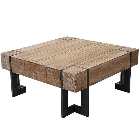Mendler Couchtisch HWC-A15, Wohnzimmertisch, Tanne Holz rustikal massiv ~  60x60cm