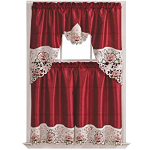 GOHD Golden Ocean Home Decor Summer Passion Kitchen Curtain Set/Swag Valance & Tier Set. Nice Matching Color Rose Embroidery on Border with cutworks (Wine)