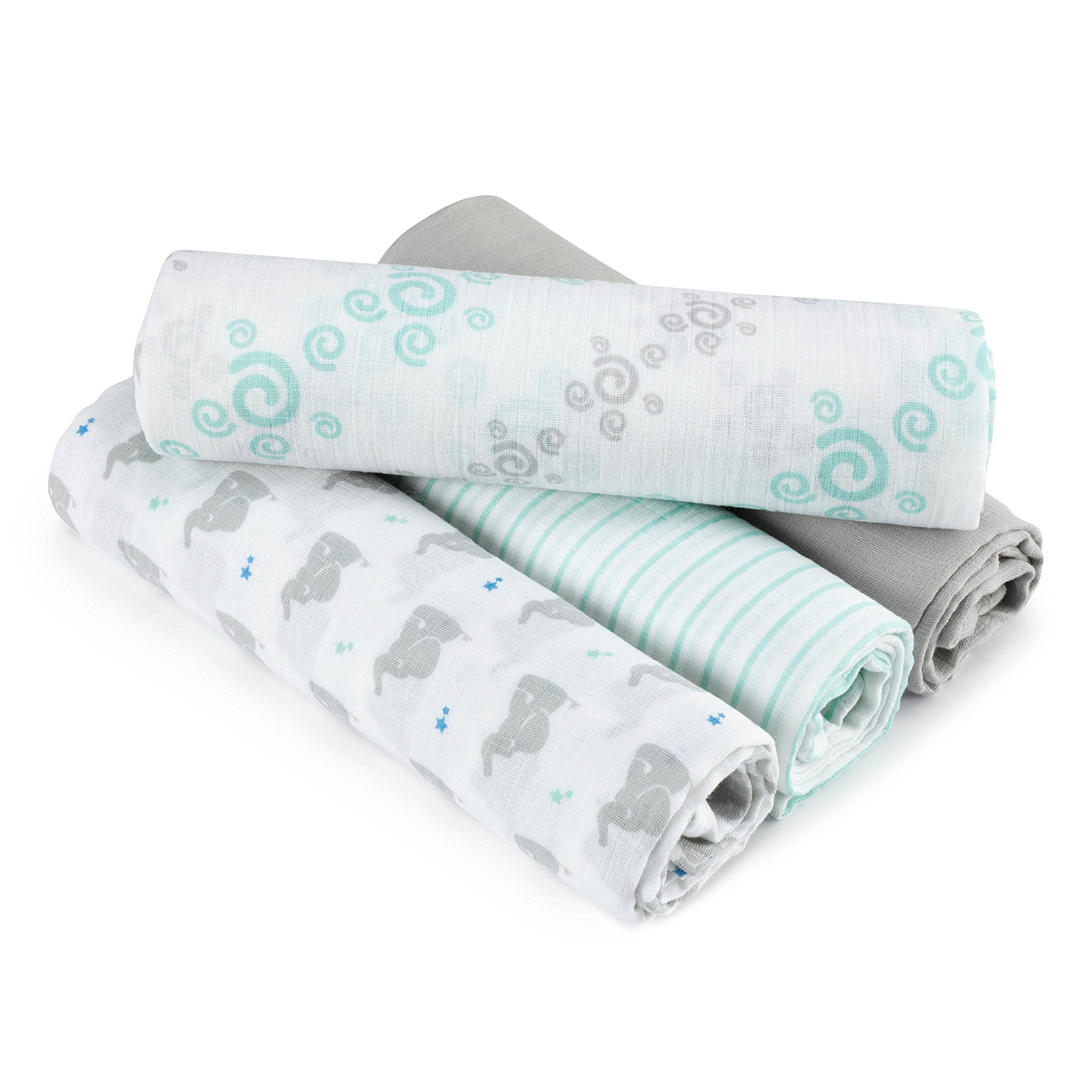 aden by aden + anais Swaddle Baby Blanket, 100% Cotton Muslin, 4 Pack, 44 X 44 inch, Baby Star - Elephants by aden