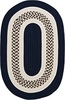 product image for Flowers Bay Oval Area Rug, 12 by 15-Feet, Navy