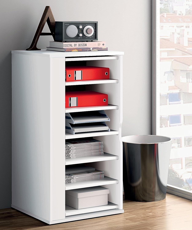 Armario auxiliar zapatero multiusos giratorio 270º color blanco brillo para almacenamiento de cocina, oficina, entrada o dormitorio. 60cm altura x 47cm ancho x 47cm fondo: Amazon.es: Hogar
