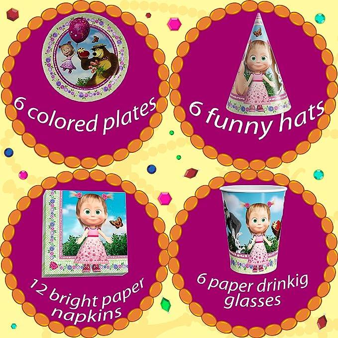 Amazon.com: Set de día festivo para niños Masha y el Oso que ...