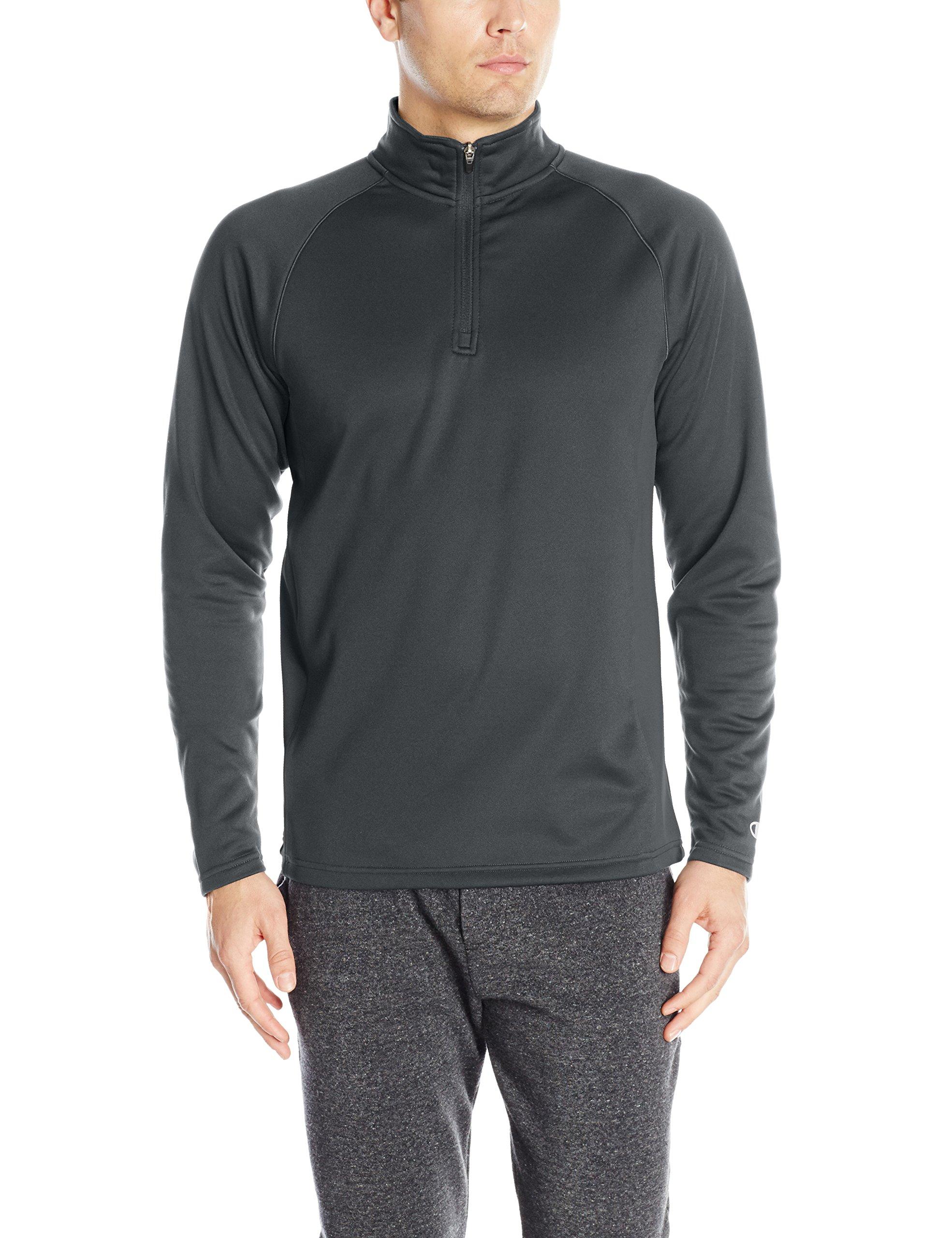 Champion Men's Performance Quarter Zip Fleece Jacket, Black/Black, Small