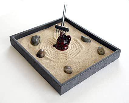 Buddha Decor Zen Garden Kit Black Indoor Zen Garden Relaxation Gift Handmade