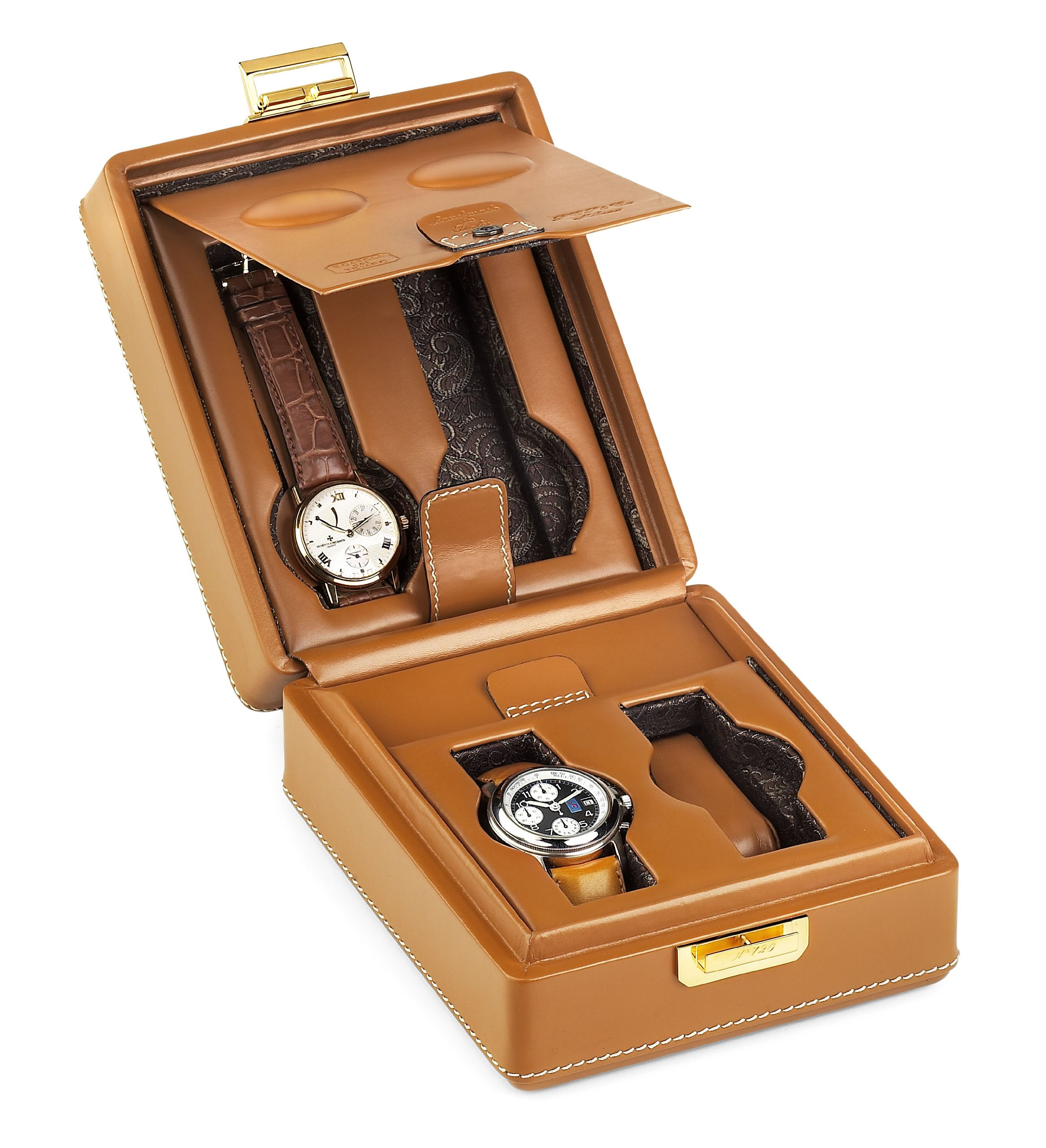 Scatola del Tempo 2+2 4 Watch Leather Collectors Travel Case