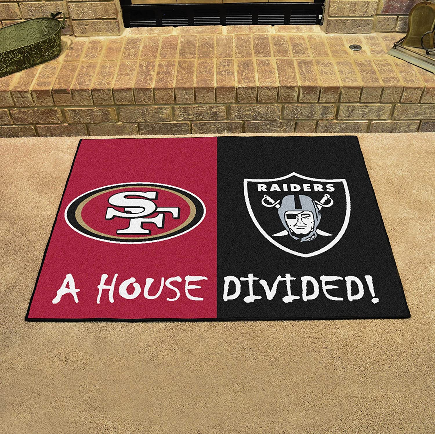 Fanmats Nfl San Francisco 49ers Las Vegas Raiders House Divided Mat Furniture Decor