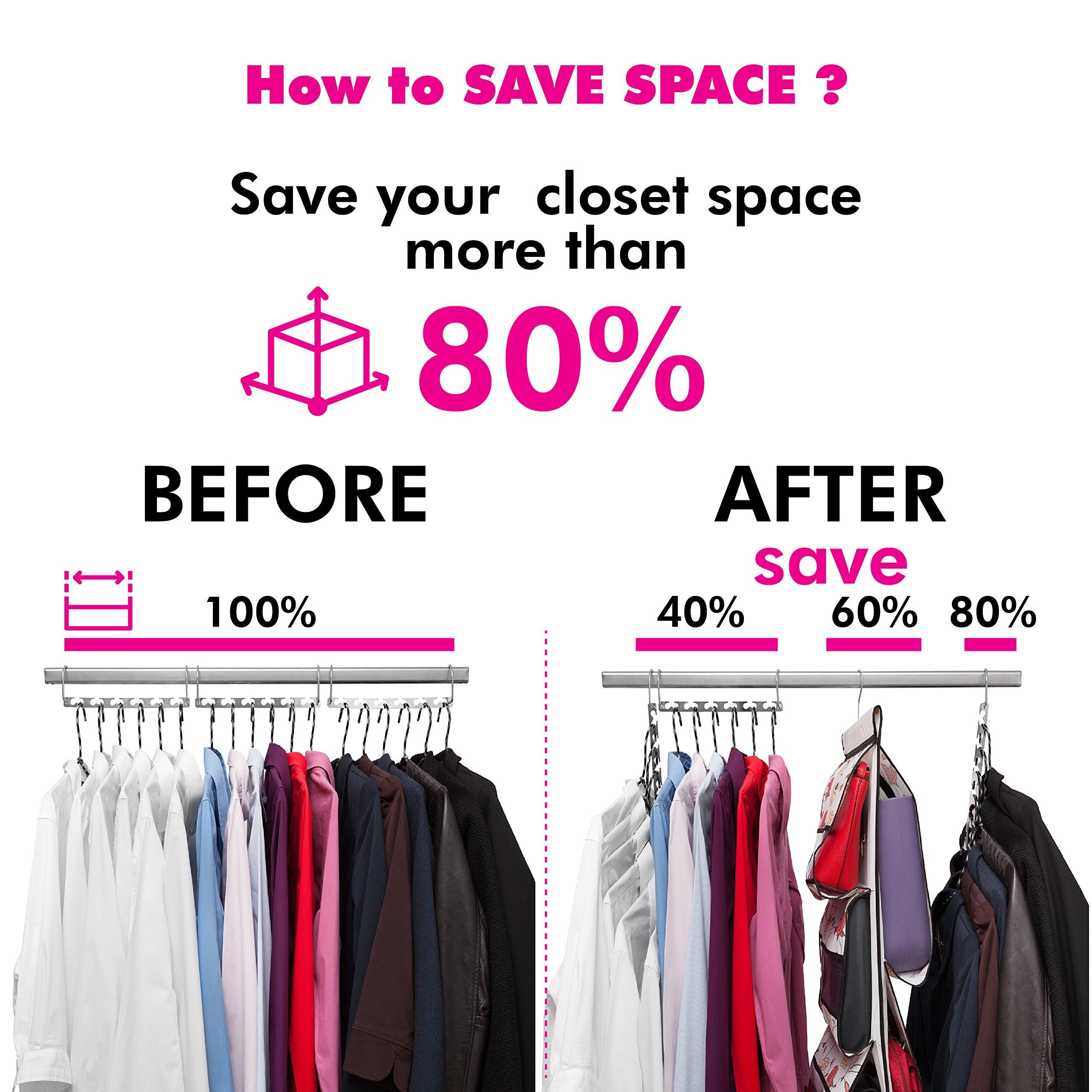 Closet Organization Set - Includes - Space Saving Hangers For Clothes (set of 3) - Hanging Purse And Handbag Organizer - Hanger Purses Hook - Tehspace
