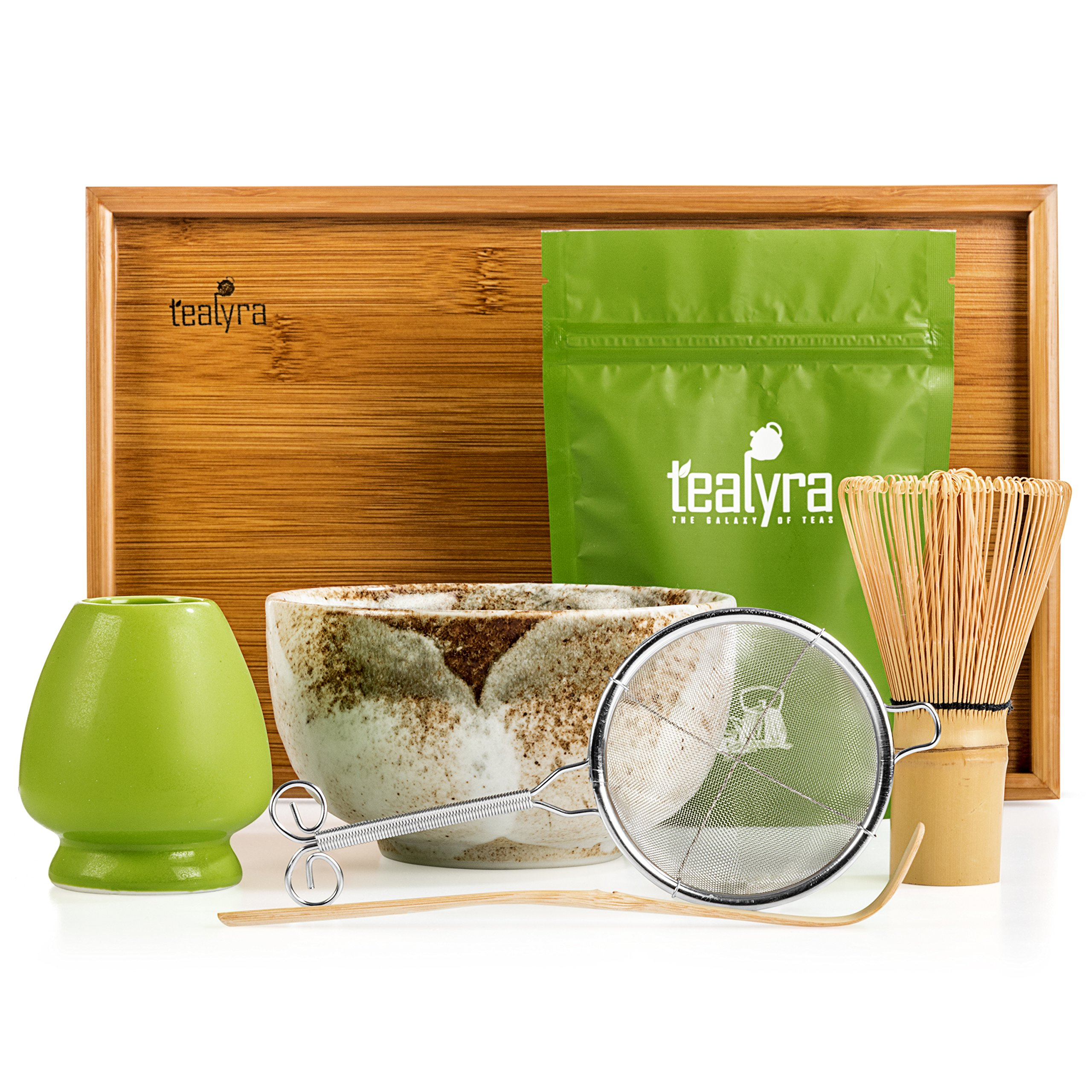 Tealyra - Matcha - Connoisseur Ceremony Start Up Kit - Complete Matcha Green Tea Gift Set - Imperial Matcha Tea Powder - Japanese Made Beige Bowl - Bamboo Whisk Scoop and Tray - Holder - Sifter by Tealyra