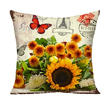 Amazon.com: Retro Girasoles y Mariposas Decorativo Throw ...