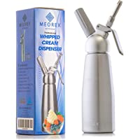 Cream Whipper Dispenser – Professional Aluminum Whipped Cream, Mousse and Ice Cream Siphon with 3 Decorating Stainless Steel Nozzles for Cakes, Hot Chocolate, Coffee, Desserts, Sauces, and Infused Liquors - 500ml Cream Whipper Uses with 8-Gram N2O Cartridges (Not Included)