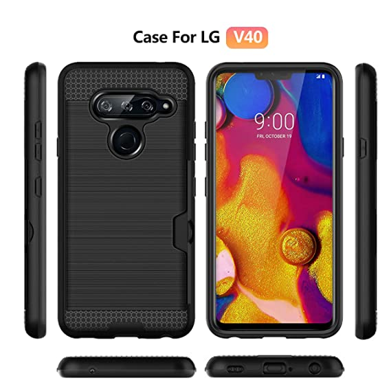 the best attitude 5b6c0 98b3c Amazon.com: LG V40 Thinq Case with Credit Card Holder Slot Wallet ...