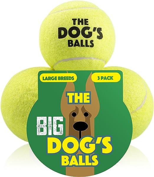 El gran perro de bolas, 3 pelotas de tenis de perro (tamaño grande, Premium perro juguete