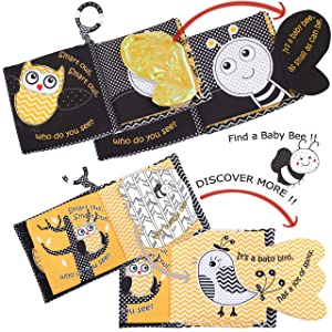 Crinkle Peek A Boo Forest Animal Soft Books For Infants,Owl Bee Cloth Books For Babies, Soft Activity Infant Toys Books For NewBorn Babies,Tails Books For Toddlers,Teething Rings 1 Year Old Boy& Girls