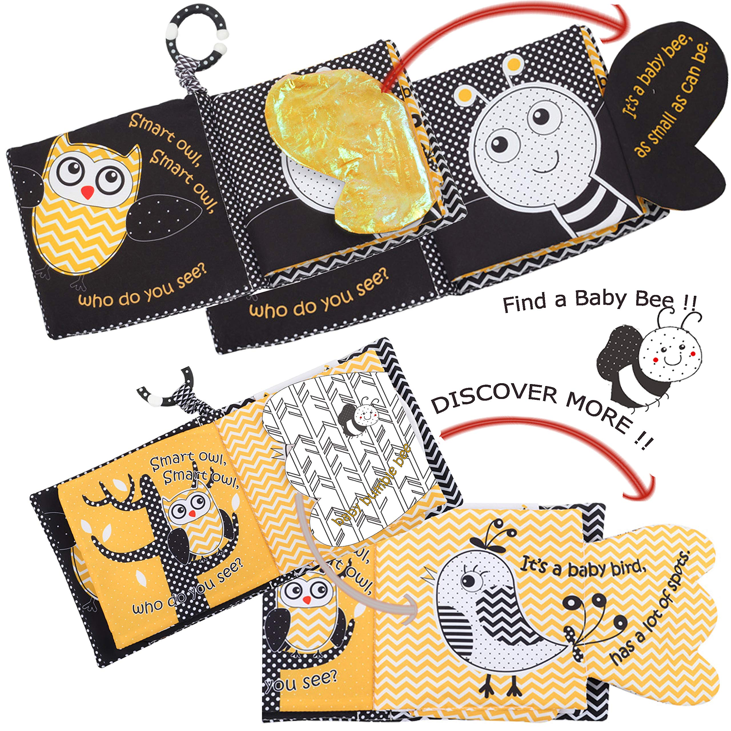 Soft Baby Books Crinkle Peek A Boo Forest Animal Cloth Books For Infants,Babies,Owl Bee Soft Activity Infant Toys Books For Newborns,Tails Books For Toddlers,Teething Rings 1 Year Old Boys& GirlsKids