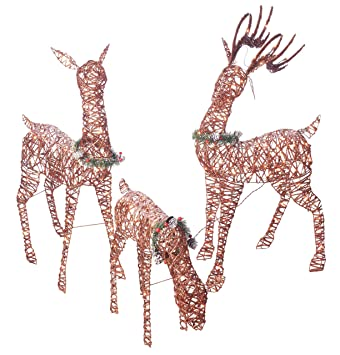 outdoor christmas reindeer family 3 set 220 lights 52 buck 44 doe 28quot