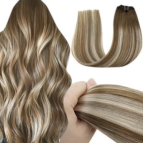 LaaVoo Clip Extensiones Cabello Rubio 18 Pulgadas Clip on Balayage Hair Extensions Balayage Marrón Medio Ombre Rubio Platino Clip Extensiones de ...