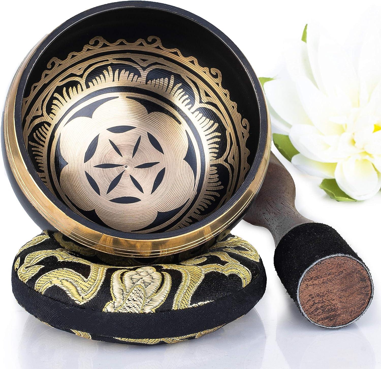 cuenco tibeteano Diseño de potencia y fuerza 10 cm negro