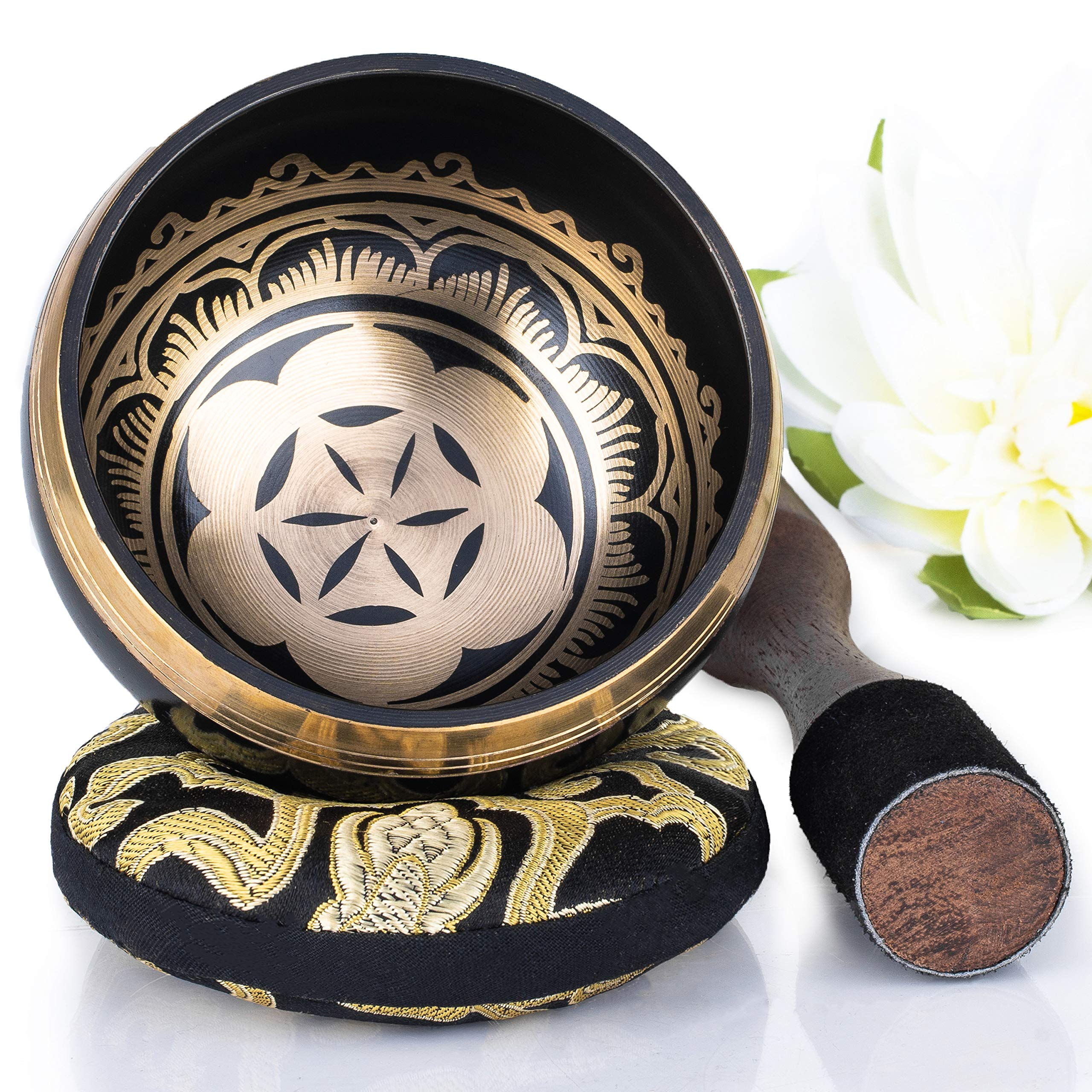 Silent Mind ~ Tibetan Singing Bowl Set ~ Power and Strength Design ~ With Dual Surface Mallet and Silk Cushion ~ Promotes Peace, Chakra Healing, and Mindfulness ~ Exquisite Gift by Silent Mind