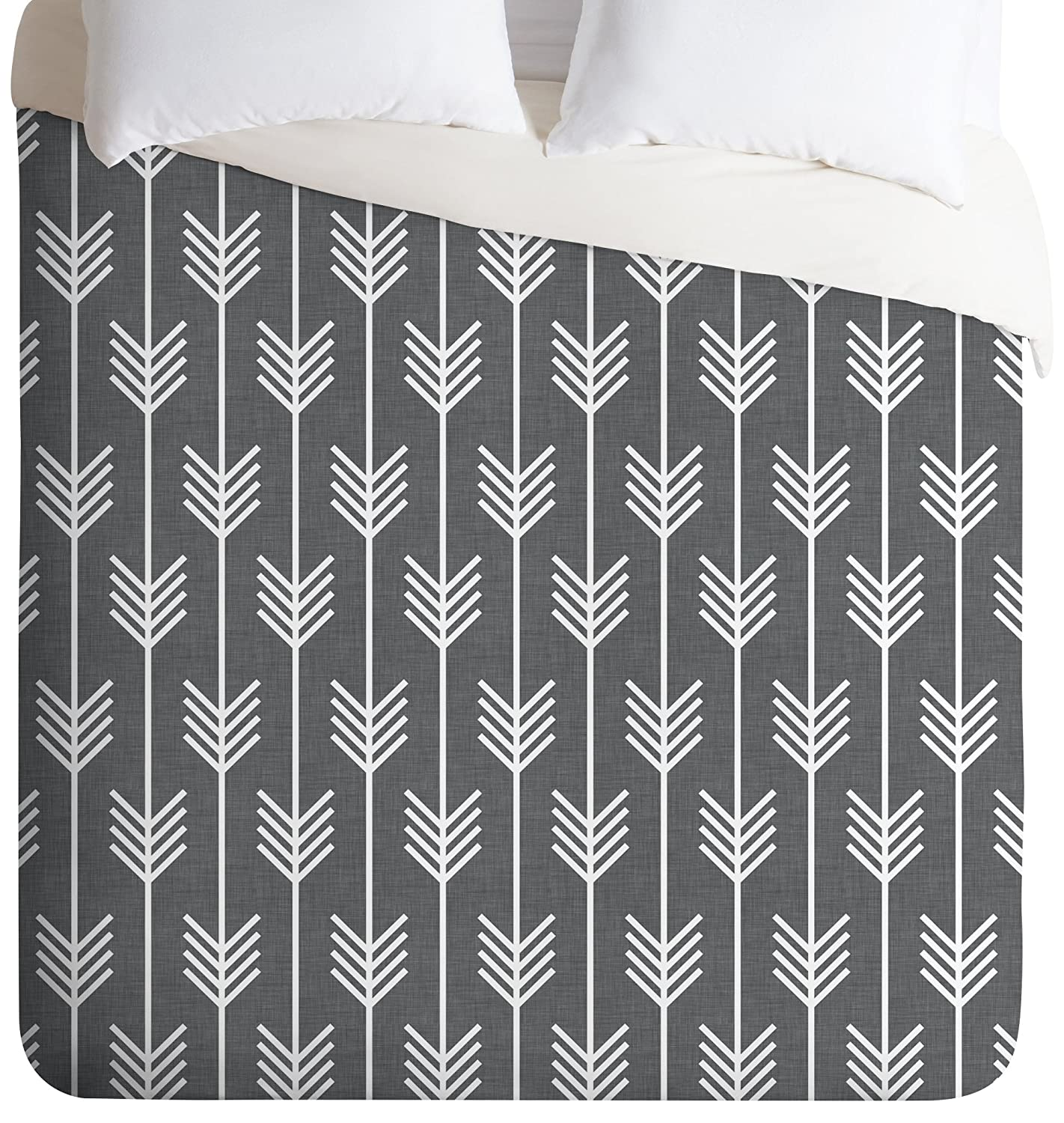 Deny Designs Holli Zollinger Arrows Grey Duvet Cover, Twin/Twin XL