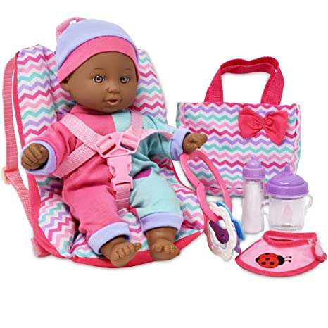 Baby Doll Car Seat With Toy Accessories Includes 12 Inch Soft Body Booster