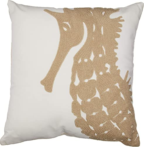 North End Decor Tan Seahorse Chain Stitch Decorative Throw 18×18 Insert Included Pillow, 18 x 18