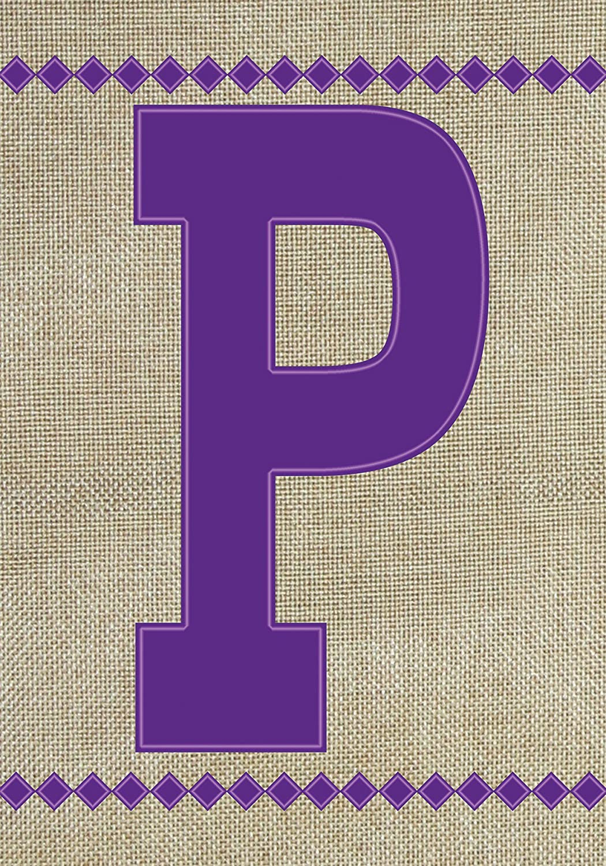 "Toland Home Garden 140025 Monogram P Burlap Flag, Garden 12.5"" x 18"", Letter - P"