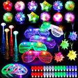 Mibote 70Pcs Led Light Up Toys Party Favors Glow in the Dark Party Supplies for Kid/Adults with 40 Finger Lights, 10 Jelly Ri