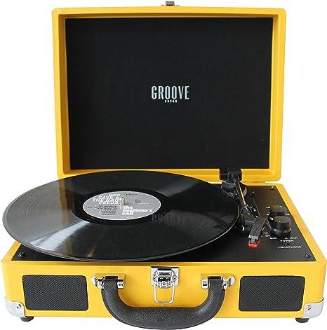 Tocadiscos Portatil Color (Amarillo) bateria auntonoma, bluetooth ...