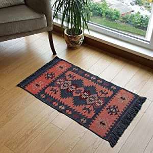 Modern Bohemian Style Small Area Rug, 2' x 3' ft, Washable, Natural Dye Colors, Reversible (Charcoal Grey-Orange)