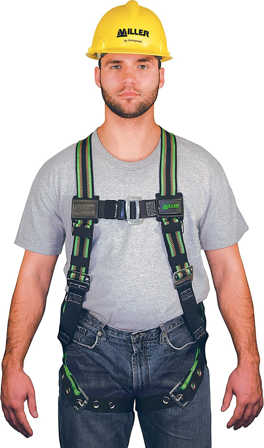 Miller DuraFlex Stretchable Full Body Safety Harness with Leg Tongue Buckles, Universal Size-Large/XL, 400 lb. Capacity (E650-4/UGN)