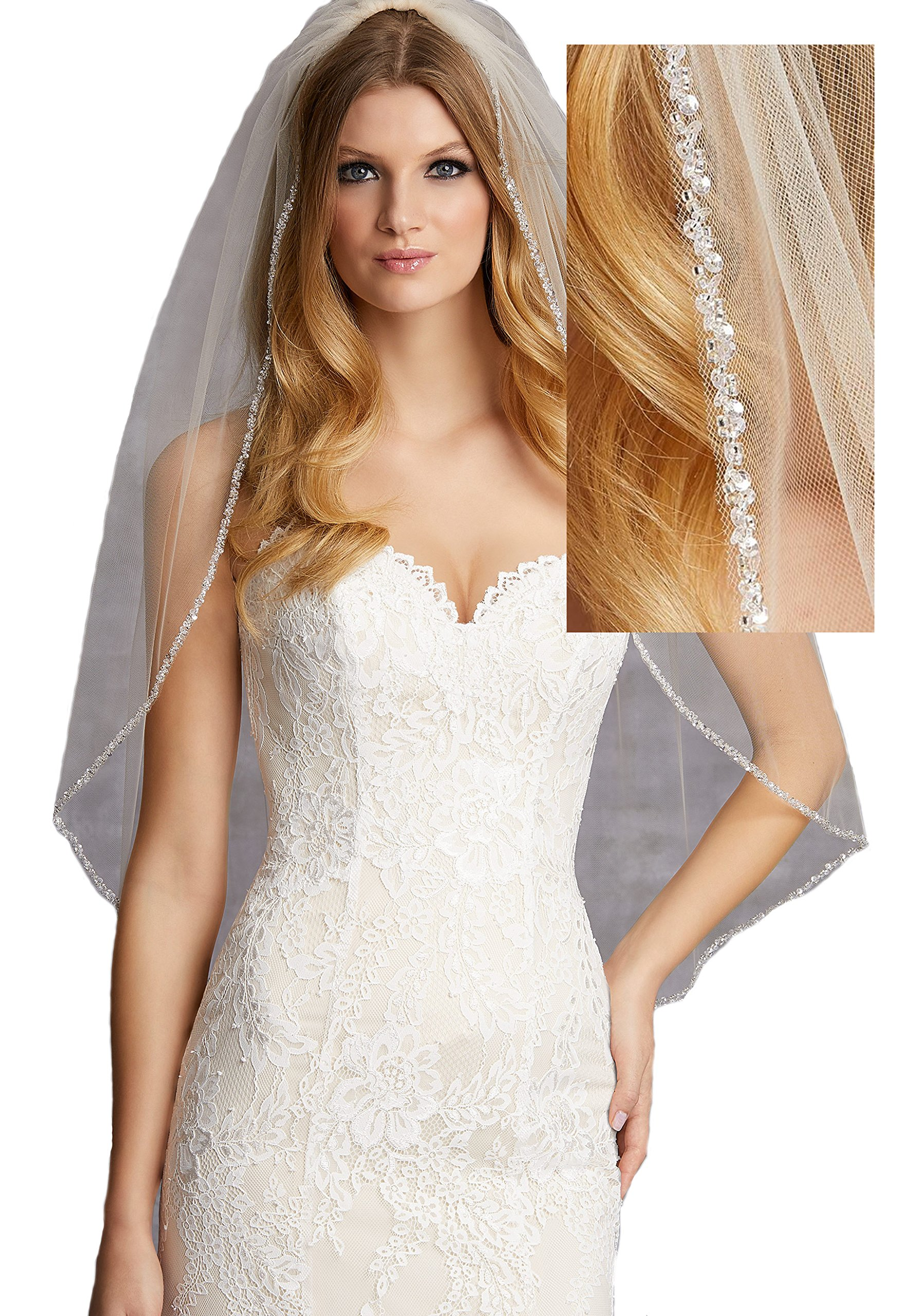 Passat Ivory 1T Elbow/WaistBridal Veil Edged with Clear Beads and Sequins VL-1025