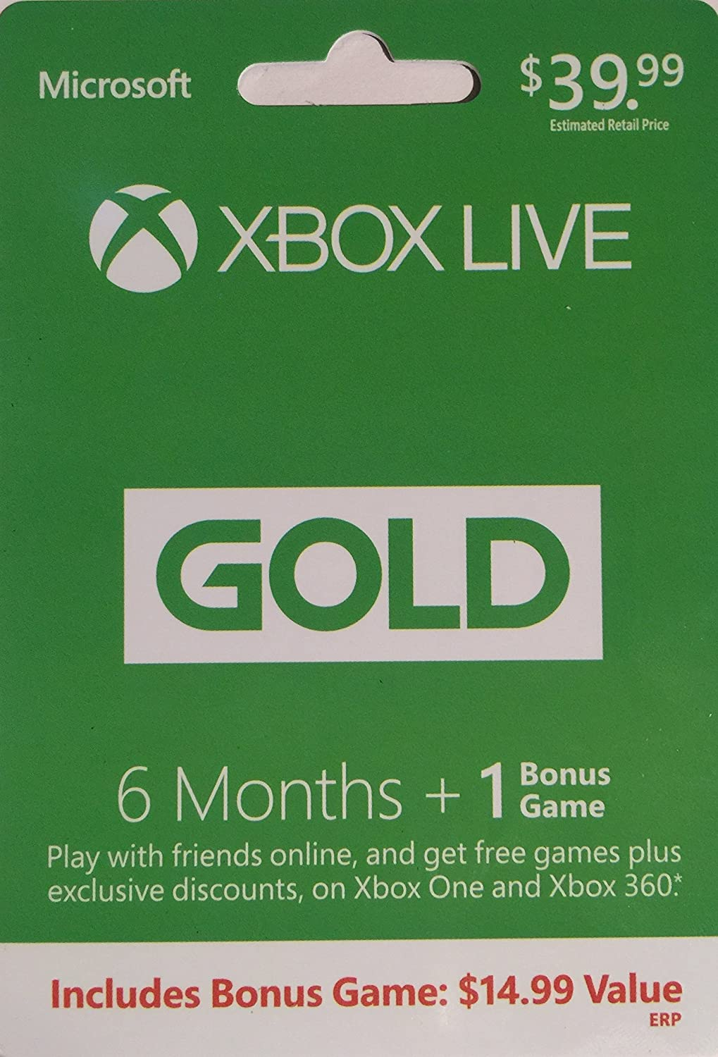Microsoft Xbox Live 6 Months + 1 Bonus Game Gold Card (Physical Card) for Xbox One and Xbox 360