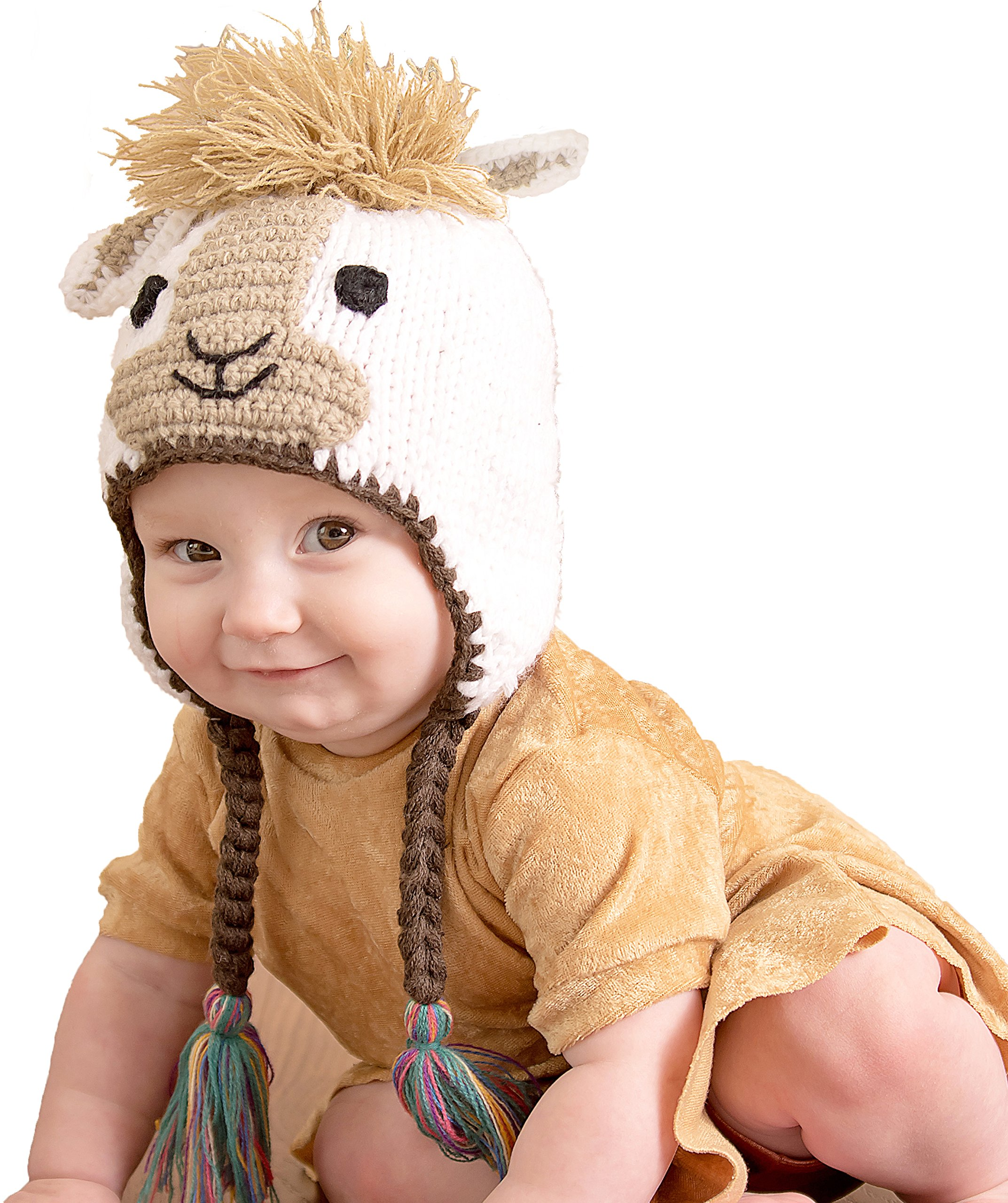 Huggalugs Baby and Toddler Llama Knit Beanie Hat M Cream by Huggalugs