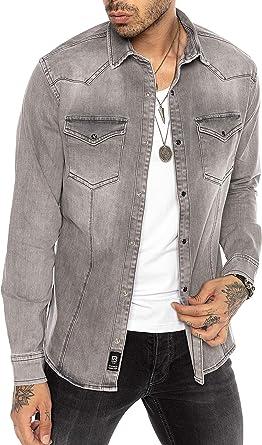 Camisa de Jeans Vaquera Denim para Hombre Manga Larga Gris: Amazon.es: Ropa y accesorios