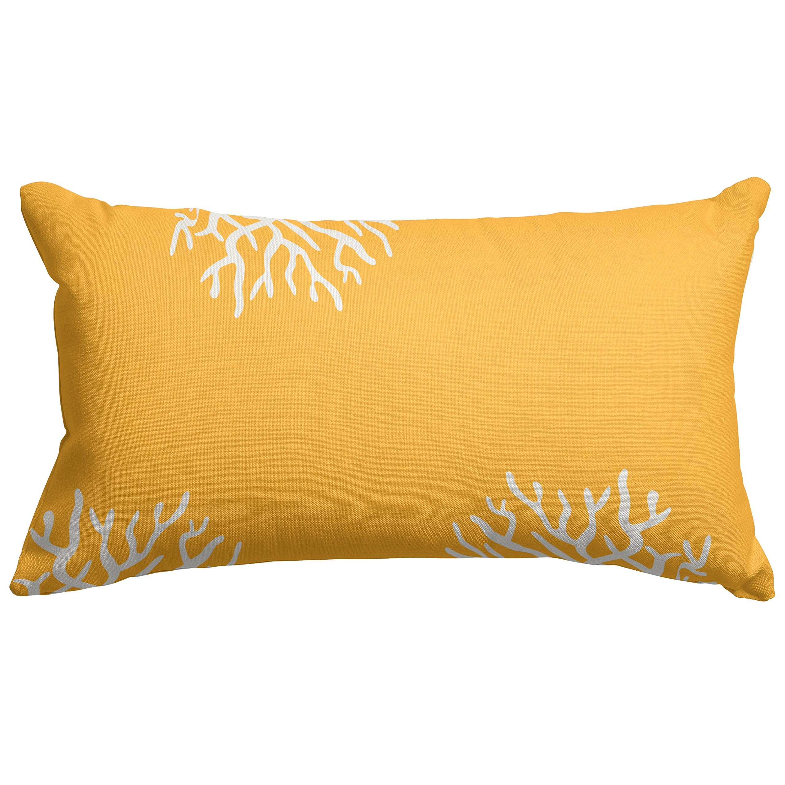 Majestic Home Goods Yellow Coral Indoor / Outdoor Small Throw Pillow 20'' L x 5'' W x 12'' H