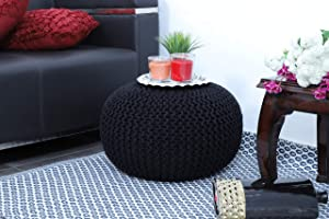 Frenish Décor Hand Knitted Cotton Ottoman Pouf Footrest 20x20x14 INCH, Living Room Accent seat (Black)