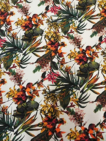 Charmant Polyester Venezia Spandex 2 Ways Stretch Hawaiian Garden Design Fabric  (Ivory)