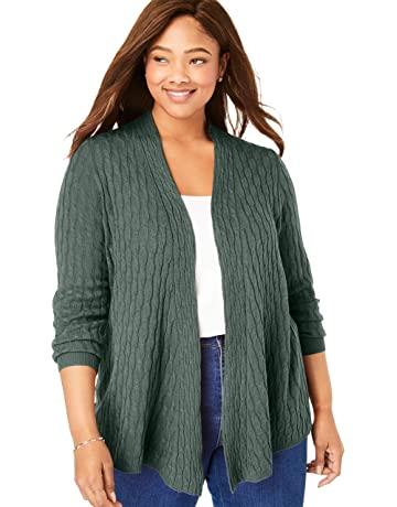 e0ba521692e Woman Within Women's Plus Size Open Front Cable Cardigan