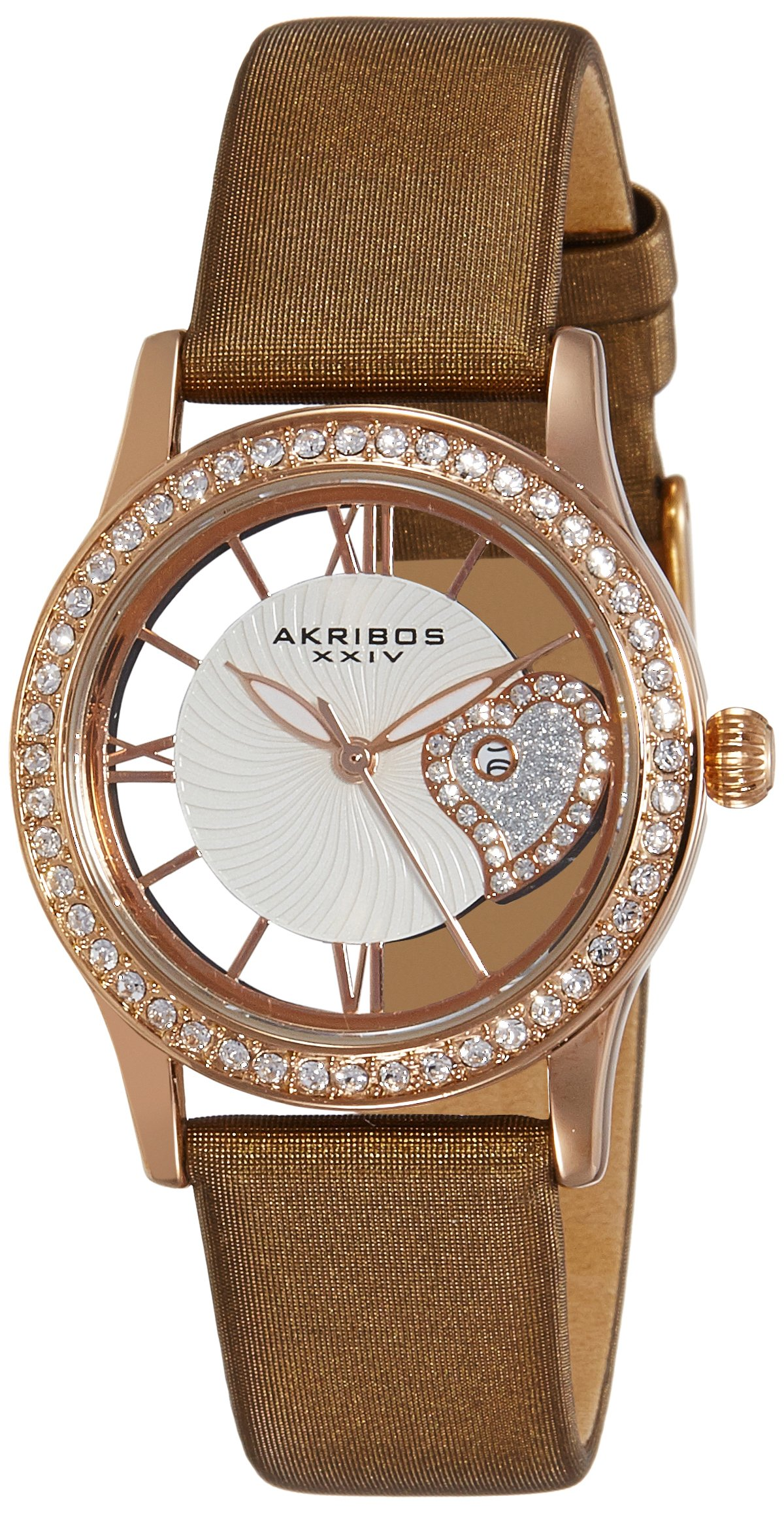 """Akribos XXIV Women's Swarovski Crystal Watch - See Thru Roman Numerals Cut Out Crystal Heart Dial Wave Pattern """"Floating"""" Dial with Date On Satin Strap - AK811"""