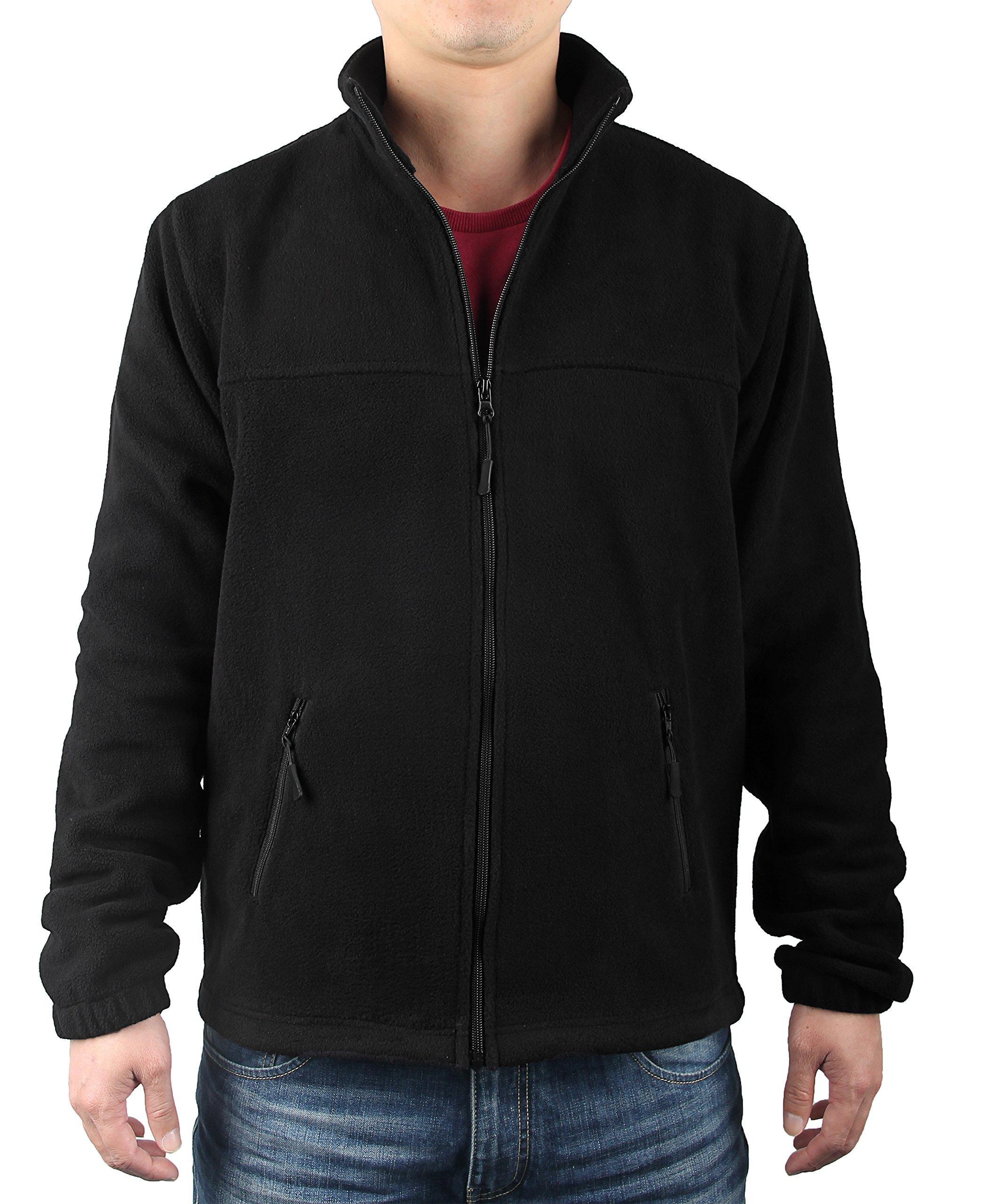 iLoveSIA Men's Fleece Casual Classic Warm Full Zip Jacket US Size XS Black