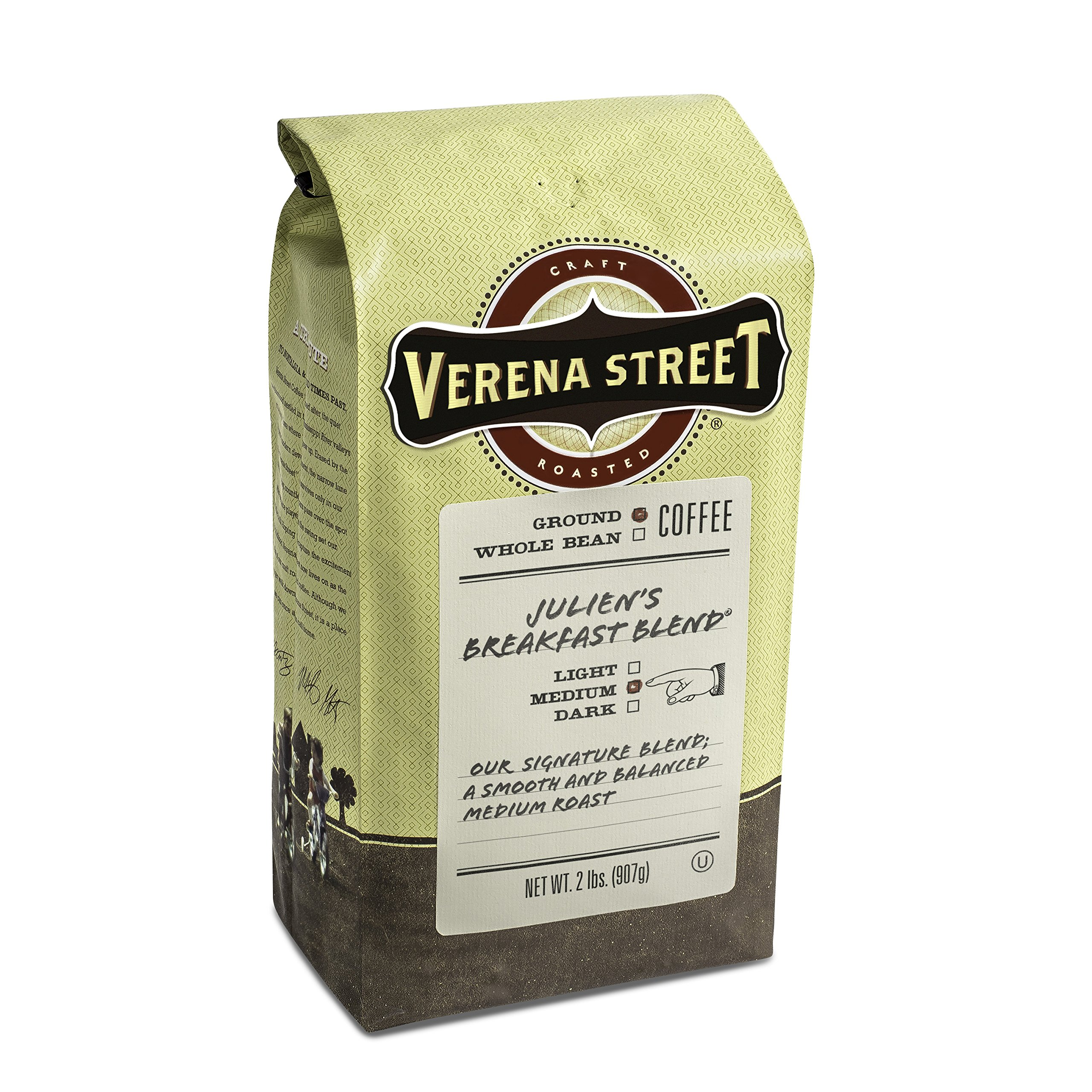 Verena Street 2 Pound Ground Coffee, Medium Roast, Julien's Breakfast Blend, Rainforest Alliance Certified Arabica Coffee