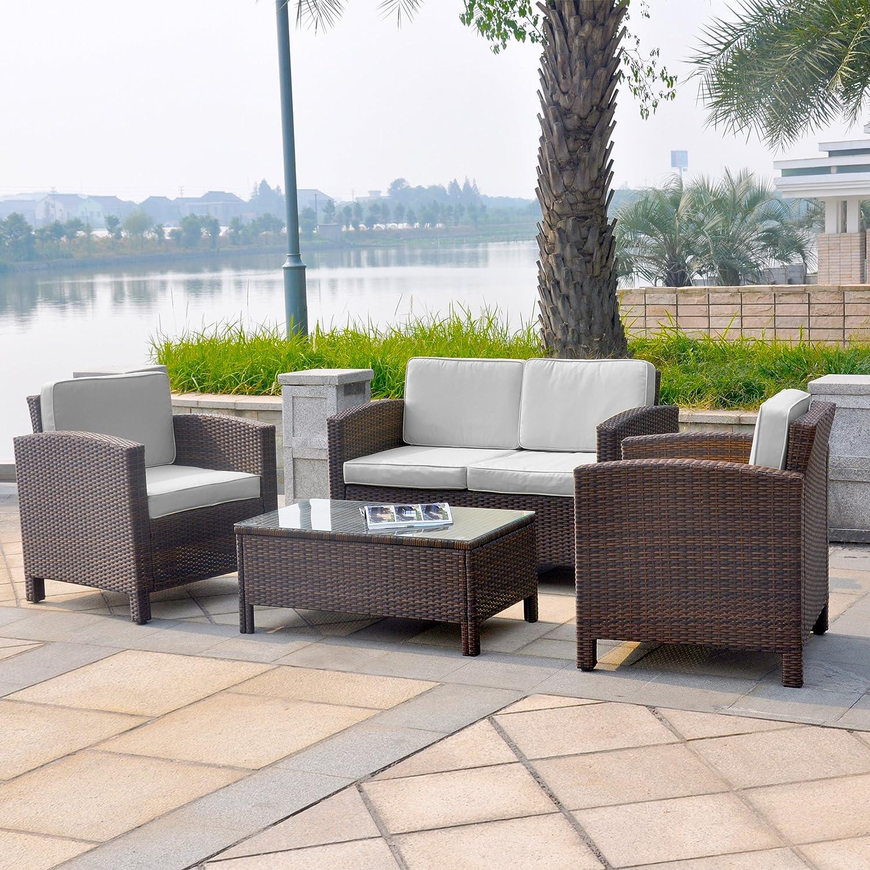 13tlg. Deluxe Lounge Set Gruppe Garnitur Gartenmöbel Loungemöbel Polyrattan Sitzgruppe - handgeflochten