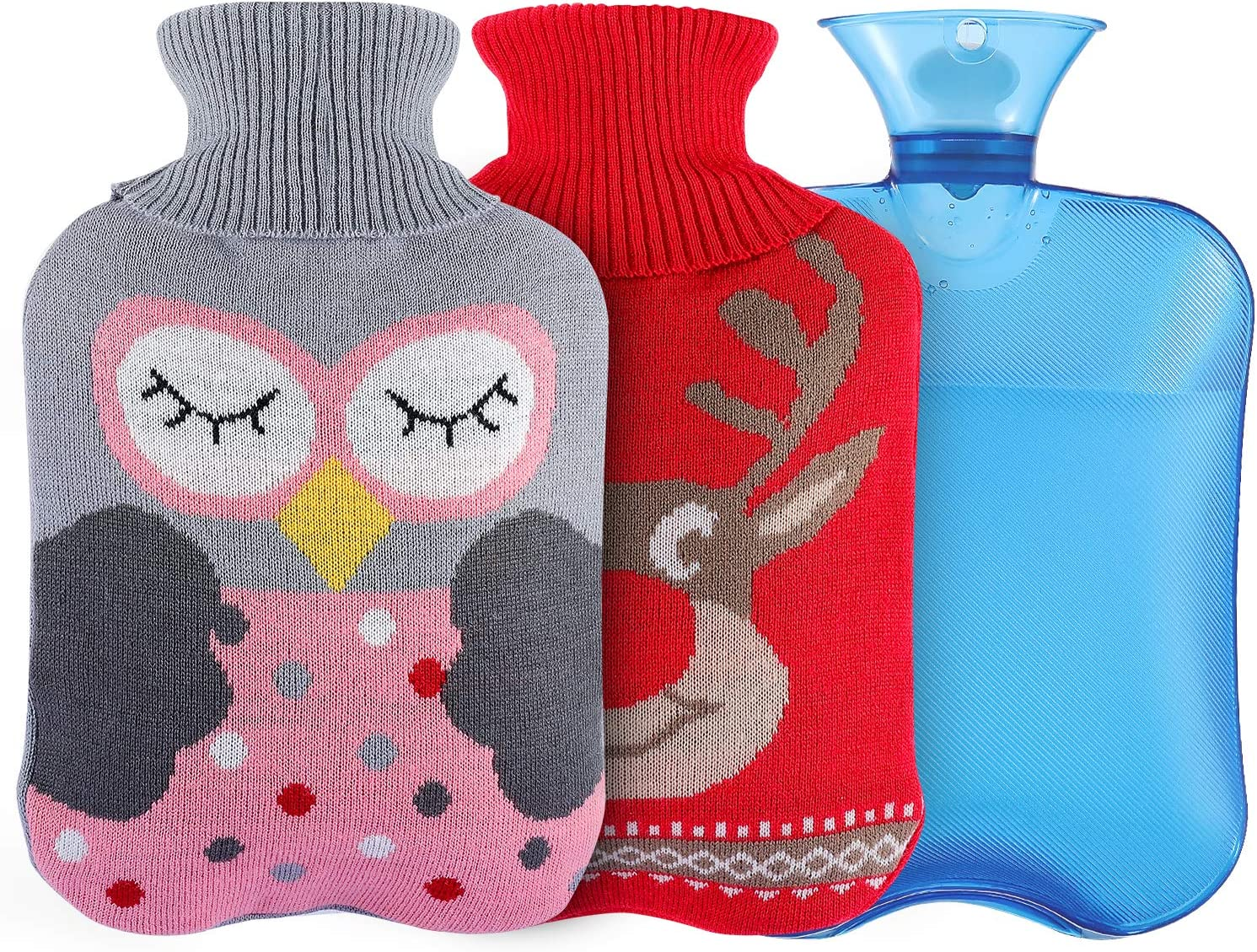 Bolsa de Agua CalienteBolsa de Agua Calient,Natural Goma Botellas,con Tejida Caso Hecho Punto Bolsa Para Mantener el Agua Calient