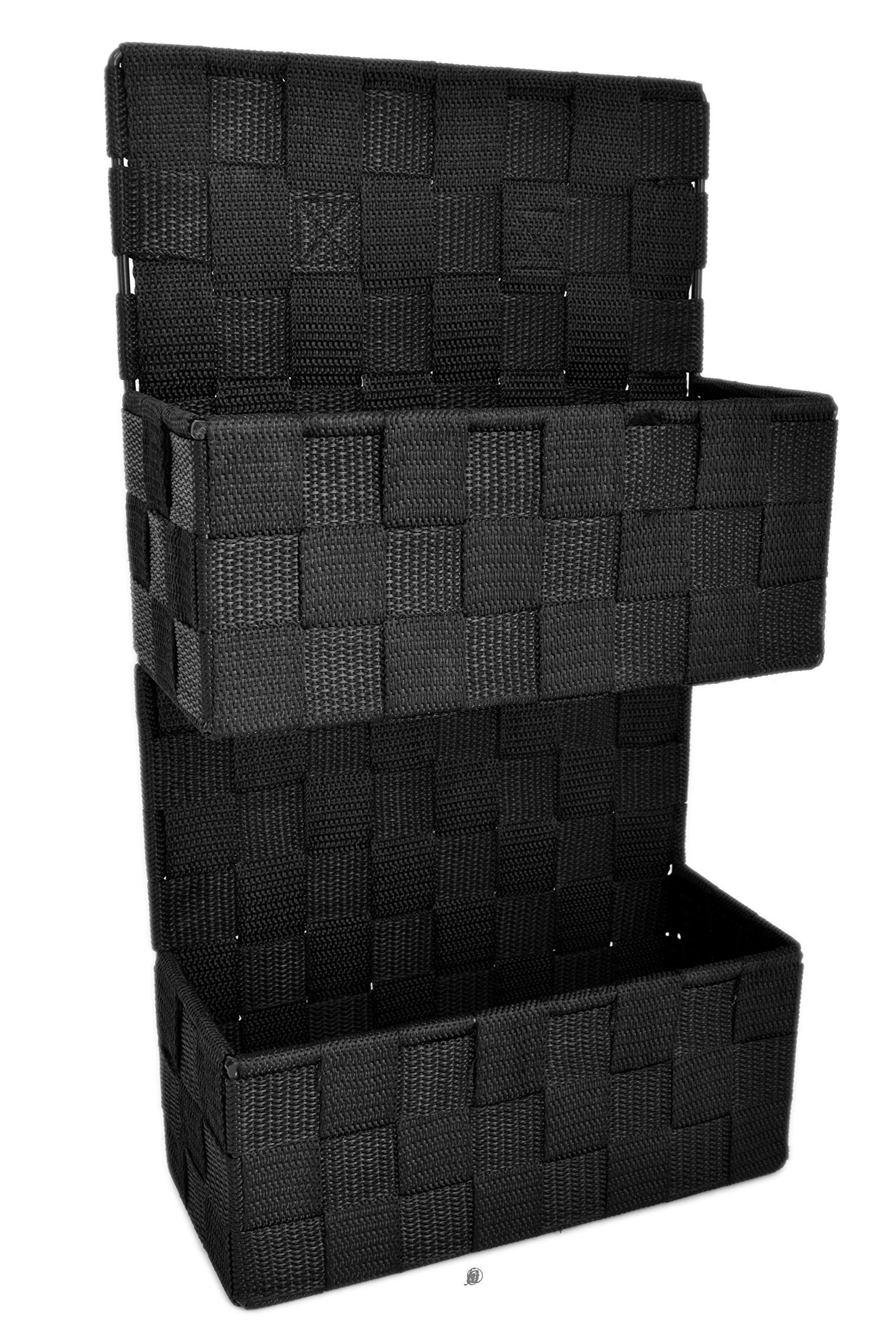 American Chateau Black Wall Mount Durable Nylon Weave Basket Organizer Letter Holder Mail Sorter