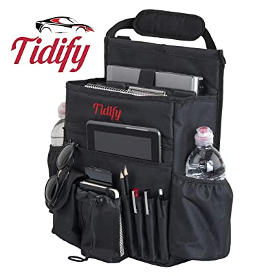 Tidify Car Front Seat Organizer with Dedicated Tablet/Laptop Storage, Stabilizing Side Straps, Soft Adjustable Shoulder Strap and Hardened Buckles - Your Office Away from Office: Automotive