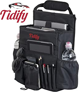 Tidify Car Front Seat Organizer with Dedicated Tablet/Laptop Storage, Stabilizing Side Straps, Soft Adjustable Shoulder Strap and Hardened Buckles - Your Office Away from Office