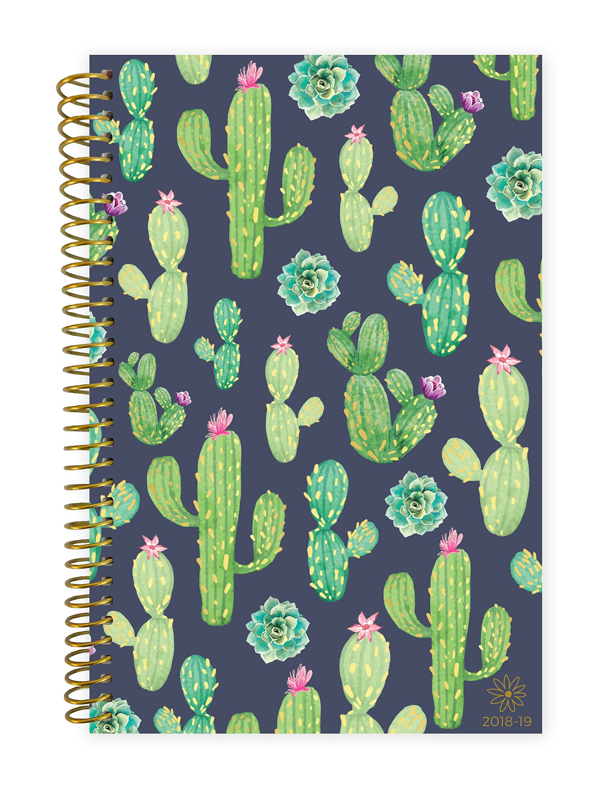 Bloom Daily Planners 2018-2019 Academic Day Planner - Monthly Weekly Datebook/Calendar Book - Inspirational Dated Agenda Organizer - (August 2018 - July 2019) - 6'' x 8.25'' - Navy Cacti