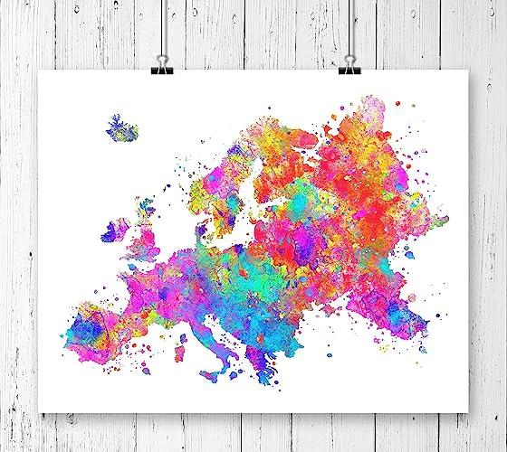 Europe Map Art Print, Watercolor Art Print, Archival Art Print,Wall Decor,