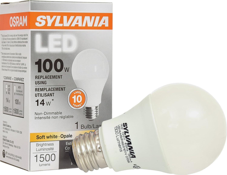 SYLVANIA, 100W Equivalent, LED Light Bulb, A19 Lamp, 1 Pack, Soft ...
